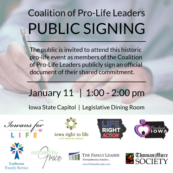 Coalition of Pro-Life Leaders | Public Signing